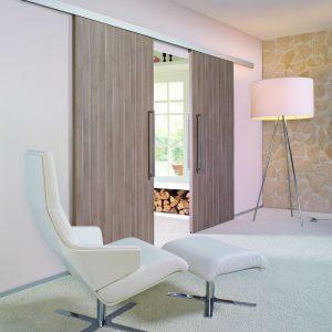Binnendeur schuifbeslag tot 80kg hout en glas